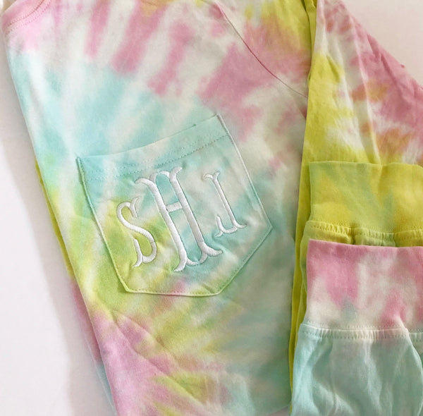Long Sleeve Monogram Pocket Tee - Summertime Dreams Tie Dye
