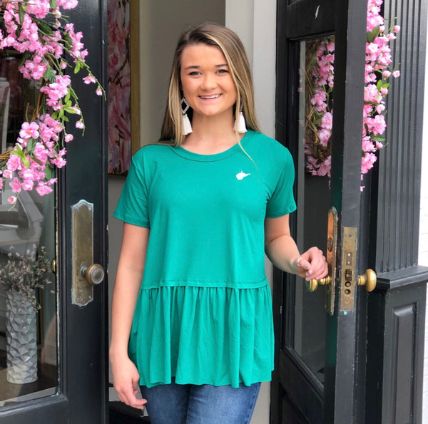 Green WV Peplum T-Shirt