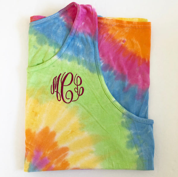 Summer Vibes Monogram Tie Dye Tank Top