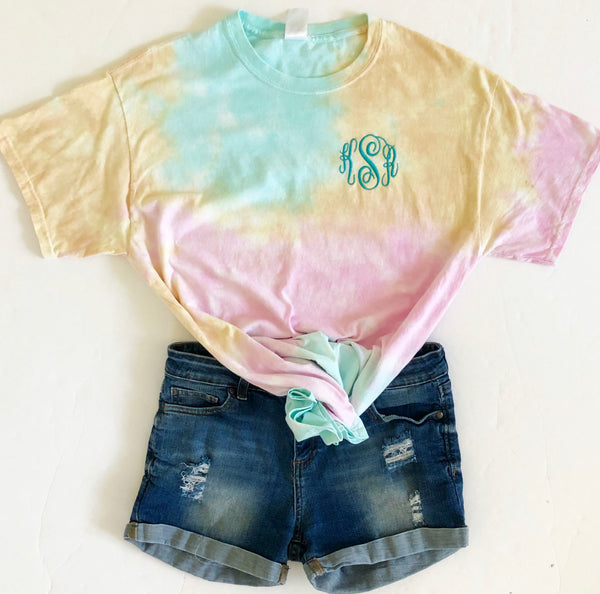 Sea Breeze Slushie Monogram Tie Dye T-shirt