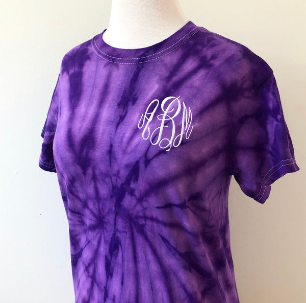 Purple Monogram Tie Dye T-Shirt
