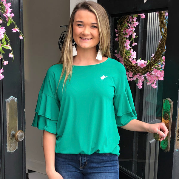 WV Double Ruffle Top Green