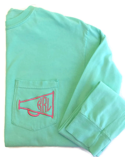Long Sleeve Cheer Monogram Pocket Tee
