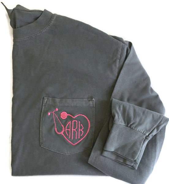 Long Sleeve Stethoscope Monogram Pocket Tee