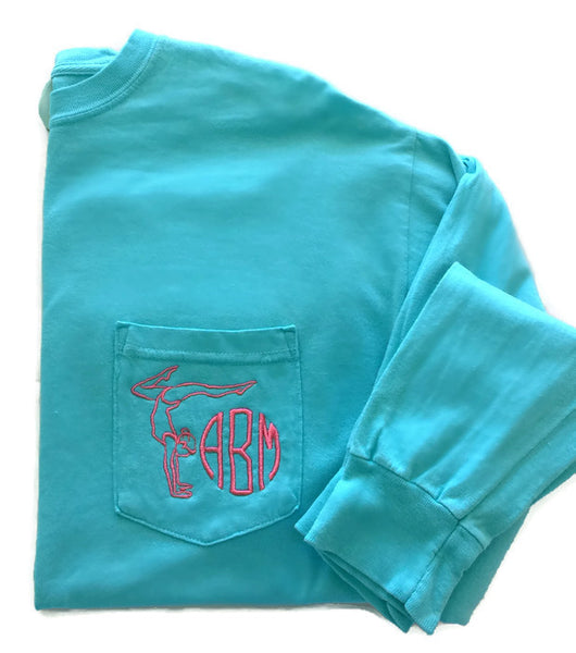 Long Sleeve Gymnast Monogram Pocket Tee