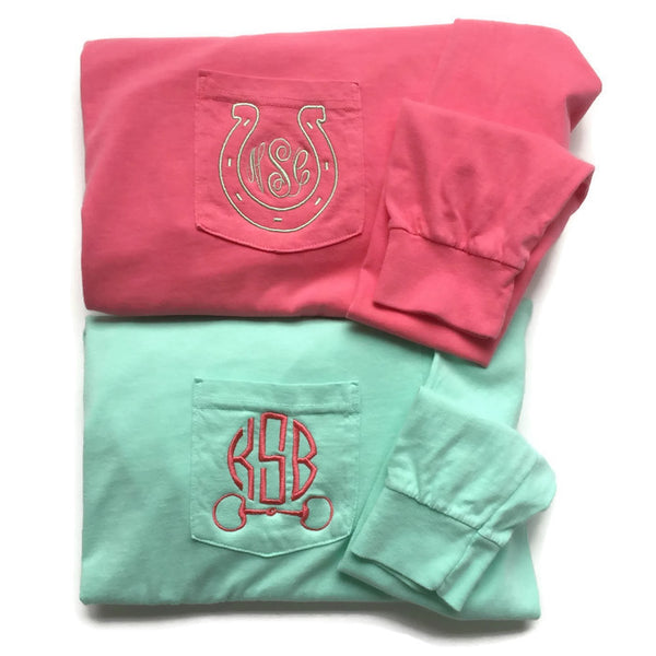 Long Sleeve Equestrian Monogram Pocket Tees