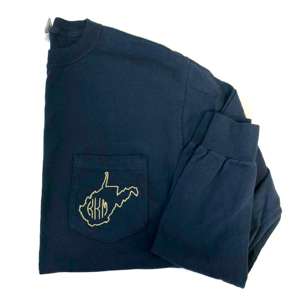 Long Sleeve West Virginia Monogram Pocket Tee