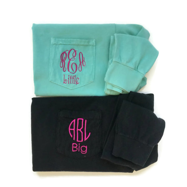 Long Sleeve Monogram Sorority Reveal Shirts With Family Name