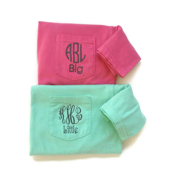 Short Sleeve Sorority Monogram Family Name Reveal Pocket Tees