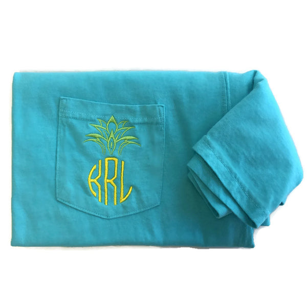 Short Sleeve Pineapple Monogram Pocket Tee