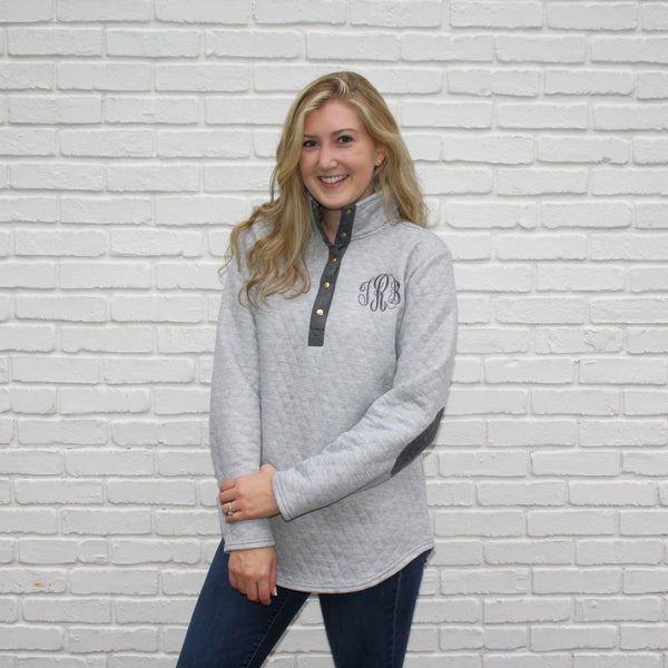 Monogram Quilted Pullover Sweatshirt - Grey XL