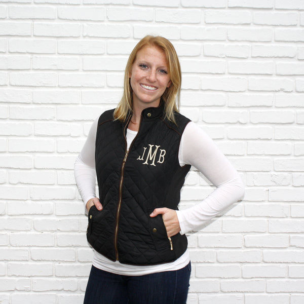 Black Monogram Vests Small & 1X