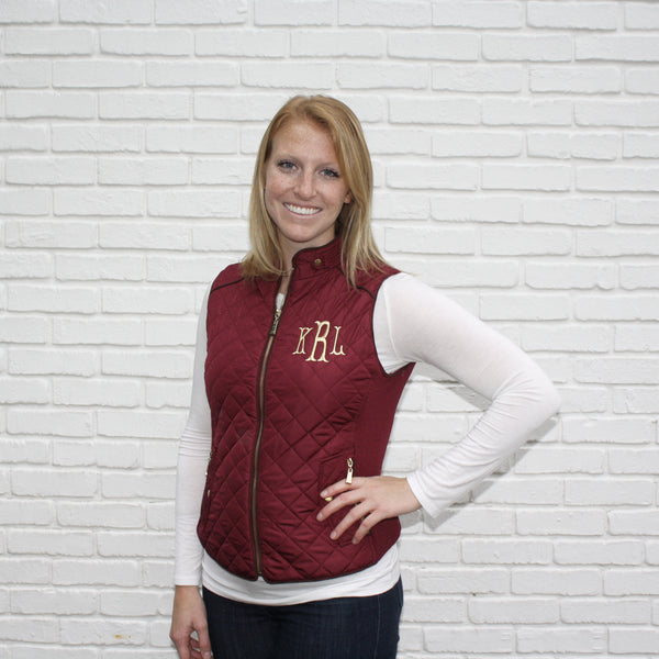 Maroon Monogram Vests