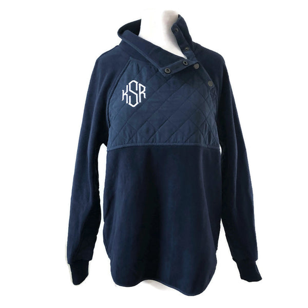 Navy Fleece Side Snap Sweatshirt