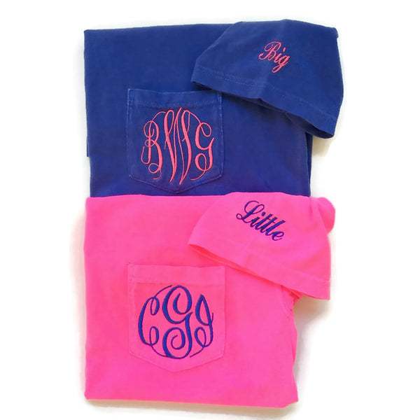 Short Sleeve Monogram Family Reveal Pocket Tees With Sorority Name On Sleeve