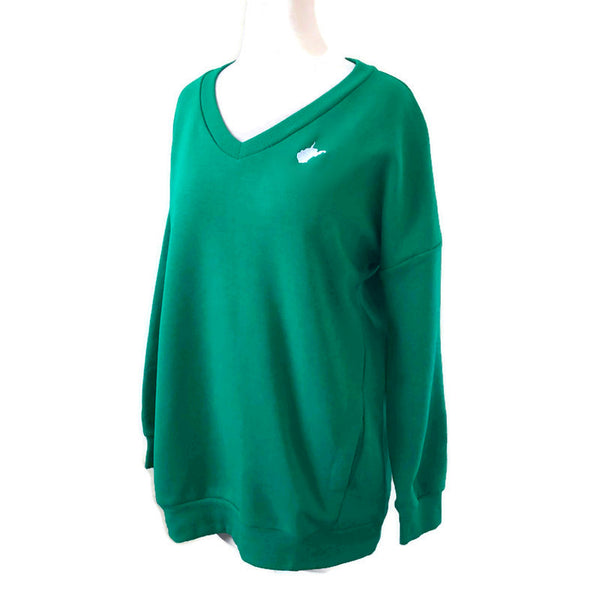 WV V Neck Sweatshirt - Green / Final Sale