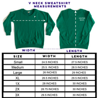 WV V Neck Sweatshirt - Green Larges - Final Sale