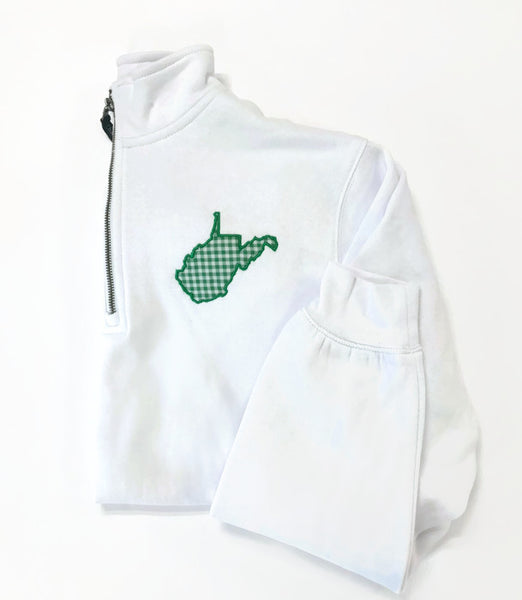 West Virginia Sweatshirts White/Green Gingham - Large & XL