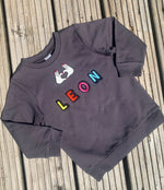 Load image into Gallery viewer, Personalised Name Patch Dark Grey Sweater
