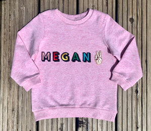 Personalised Name Patch Pale Pink Sweater