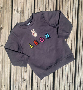 Personalised Name Patch Dark Grey Sweater