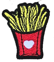 French Fries Patch with Heart 3.7 X 4.4cm