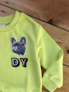 Personalised Name Patch Neon Yellow Sweater