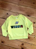 Load image into Gallery viewer, Personalised Name Patch Neon Yellow Sweater