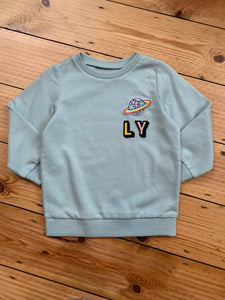 Personalised Name Patch Light Mint Sweater