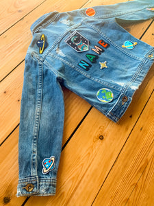 Personalised Name Patch Denim Jacket With Space Patches