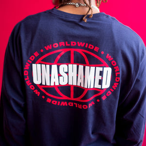 'Unashamed Worldwide' Champion Long Sleeve Tee