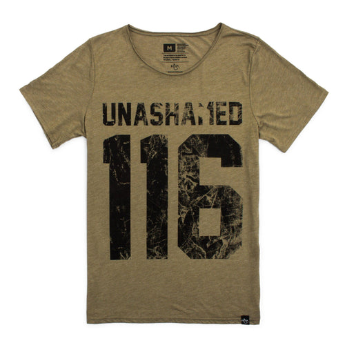 Distressed 116 Raw Neck Unisex Tee