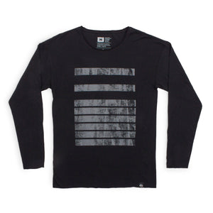 Distressed 116 Bars Raw Edge Long Sleeve Tee