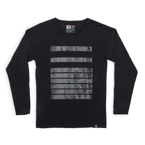Distressed 116 Bars Raw Neck Long Sleeve Tee