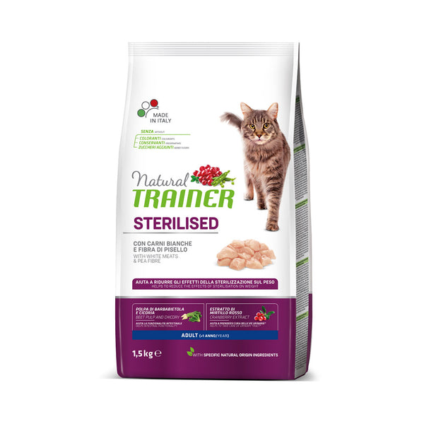 Natural TRAINER Cat Sterilised with White Meats and Pea Fibre