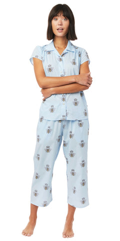 Capri Knit Pajama Set - Queen Bee in Pink or Blue