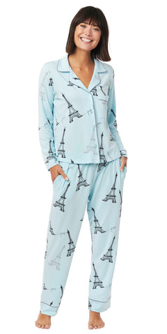 Long Sleeve Classic Knit Pajama Set - Tiffany Blue Eiffel Tower Print