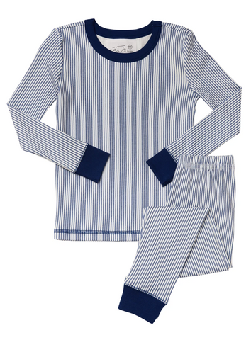 Kids Long-Sleeve Knit Pajama Set - Simple Blue Stripe