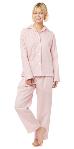 Long Sleeve Classic Pajama Set - Red Stripe Cotton