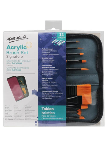 Signature Taklon Acrylic Brush Set in Wallet (11pc)