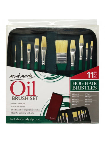 Hog Bristle Brush Set in Wallet (11pc)