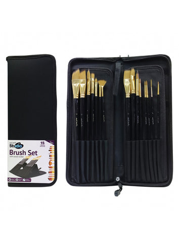 Studio Brush Set in Easel Wallet (15pc)