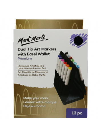 Premium Dual Tip Art Markers with Easel Wallet 13pc