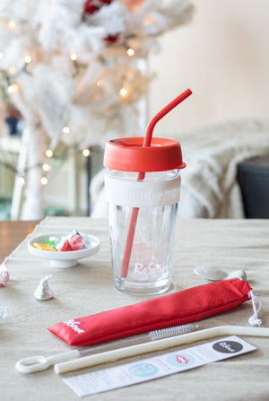 Christmas ReServe x KeepCup; 1 Red KeepCup LongPlay, 1 Red Silicone Reusable Straw, 1 White Silicone Reusable Straw