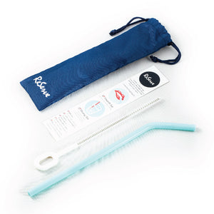 Product shot showing blue silicone straw, label, bag, and cleaning brush of ReServe