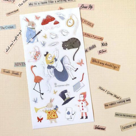 alice in wonderland rabbit cards sticker sheet