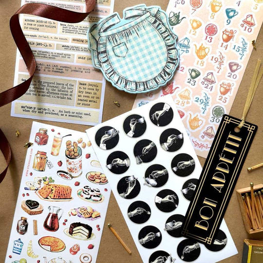 sticker sheet set pack gift notepad bookmark tea time dessert drinks pastry
