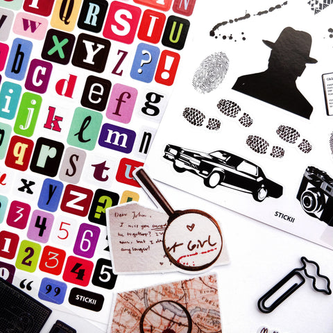 sticker sheet pack set notepad paperclip stationery gift mystery detective spy
