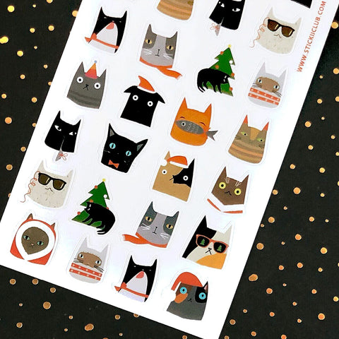 christmas winter cats sticker sheet