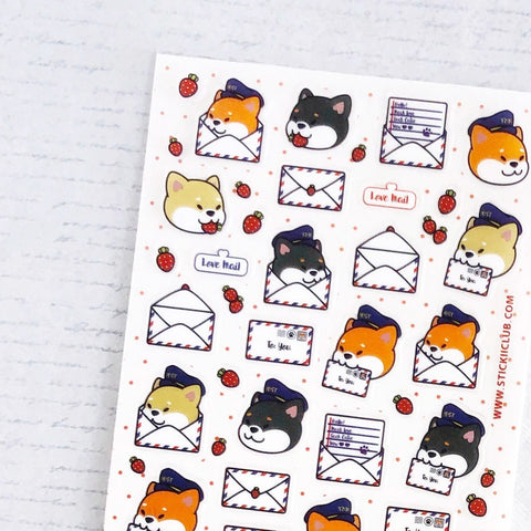 shiba dog mail post sticker sheet
